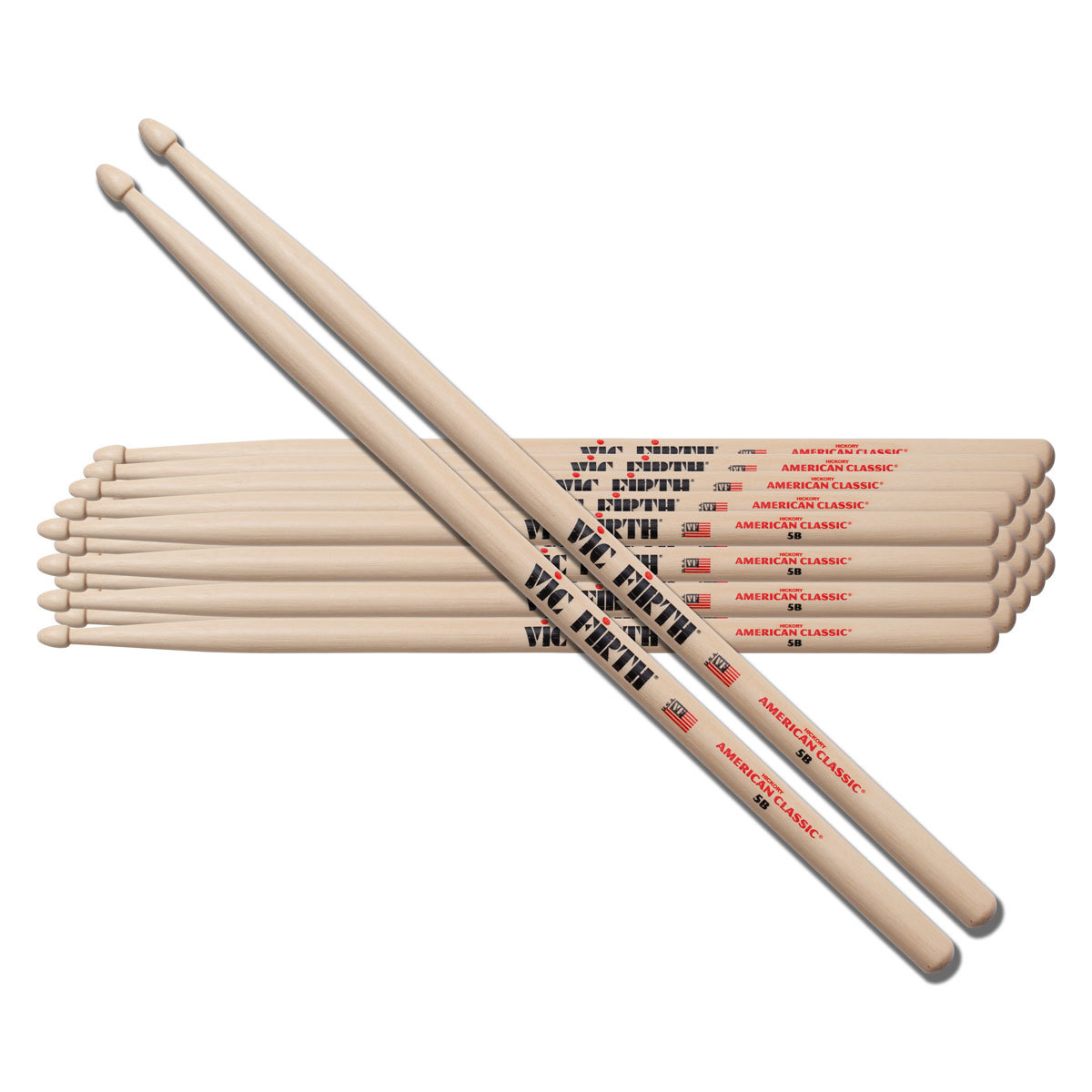 957ea029808 Vic Firth American Classic 5B Drumsticks 12 Pack - Choose Tip