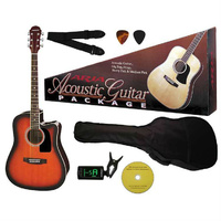 Aria Prodigy Series AC/EL Guitar Package in Brown Sunburst Includes Guitar, Gig Bag, Strap, Tuner, DVD & Picks