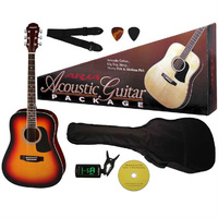 Aria Prodigy Series Acoustic Guitar Package in Brown Sunburst Includes Guitar, Gig Bag, Strap, Tuner, DVD & Picks