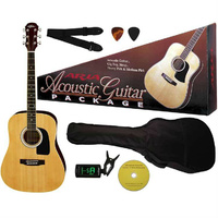 Aria Prodigy Series Acoustic Guitar Package in Natural Includes Guitar, Gig Bag, Strap, Tuner, DVD & Picks