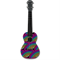 "Kealoha ""Rainbow Hearts"" Design Concert Ukulele with Black ABS Resin Body"