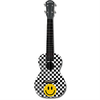 "Kealoha ""Checkerboard Smiley Face"" Design Concert Ukulele with Black ABS Resin Body"