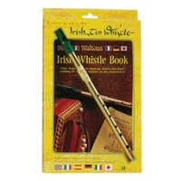 """Whistle twin pack"" Contains Waltons brass D whistle and Soodlums tin whistle book for learning 27 Irish and international tunes in 6 languages."