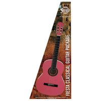 Aria Fiesta 4/4-Size Classical/Nylon String Guitar Pack in Pink