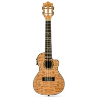 Lanikai Quilted Maple Tenor AC/EL Ukulele in Red Stain Gloss Finish with Lanikai Deluxe Gig Bag