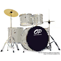 Opus Percussion 5-Piece Rock Drum Kit in Silver Sparkle