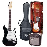 SX 3/4 Stratocaster Style Electric Guitar & Amp Pack - Black