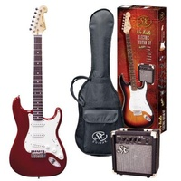 SX 3/4 Stratocaster Style Electric Guitar & Amp Pack - Candy Apple Red