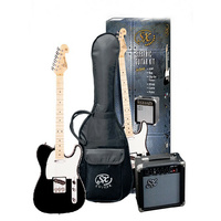 SX Telecaster Style Electric Guitar & Amp Pack - Black