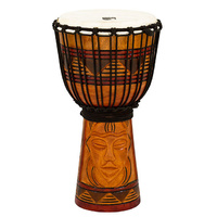 "Toca Origins Series Wooden Djembe 8"" Synthetic Head in Tribal Mask"