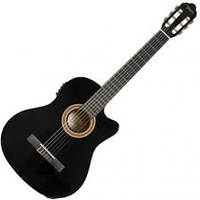 "Valencia 4/4 Size Series 100 Electric/Acoustic Nylon String Classical Guitar ""Cutaway & Pickup"" Black"