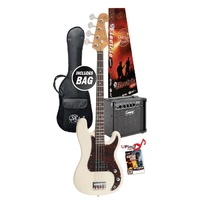 Essex VEP34VWH-PK2 3/4 Size Short Scale Bass Guitar - Vintage White & Laney Amp Package