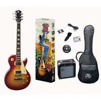 SX Les Paul style Electric guitar & Amp Pack Cherry Sunburst